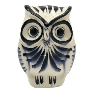 Mid-Century Mexican Hand Painted Tonala Pottery Owl Figurine Signed Rs
