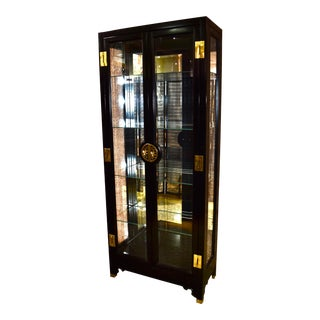 1970s Vintage Asian Two Door Lighted Curio With Black Lacquer Finish & Brass Mounts For Sale