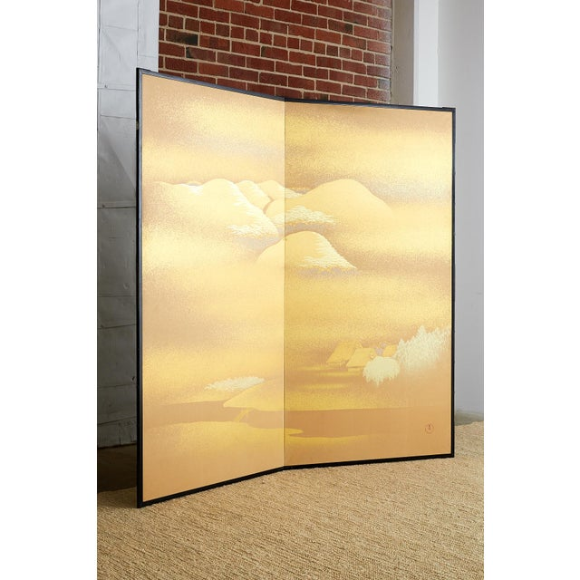 Stunning Japanese two-panel folding screen featuring a gold leaf landscape signed by Yoshikawa. Delicate scene of cherry...