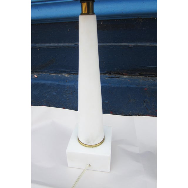 1950s Modernist White Italian Alabaster and Brass Column Boudoir Table Lamps For Sale - Image 12 of 12