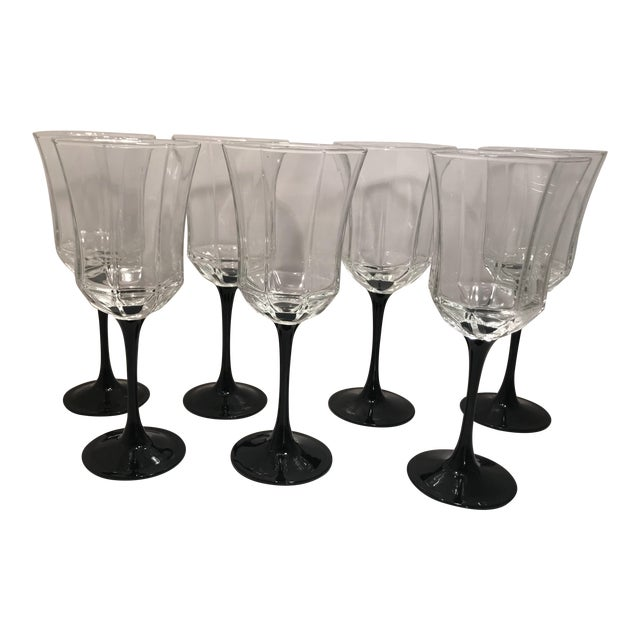 Vintage French Black Stem Water/Wine Glasses - set of 7 For Sale
