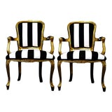 Image of Vintage Louis XV Style Gold Black and White Stripe Chairs - a Pair For Sale
