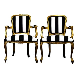 Vintage Louis XV Style Gold Black and White Stripe Chairs - a Pair For Sale