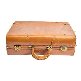 Vintage Caramel Colored Suitcase For Sale
