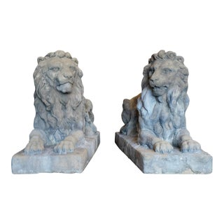 18th Century Limestone Lions - A Pair For Sale