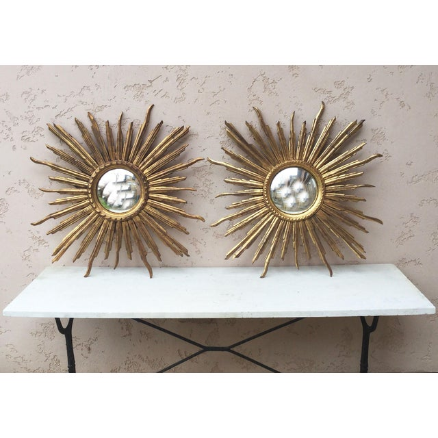 1950s French Convex Sunburst Gilded Wood Mirror For Sale - Image 5 of 6