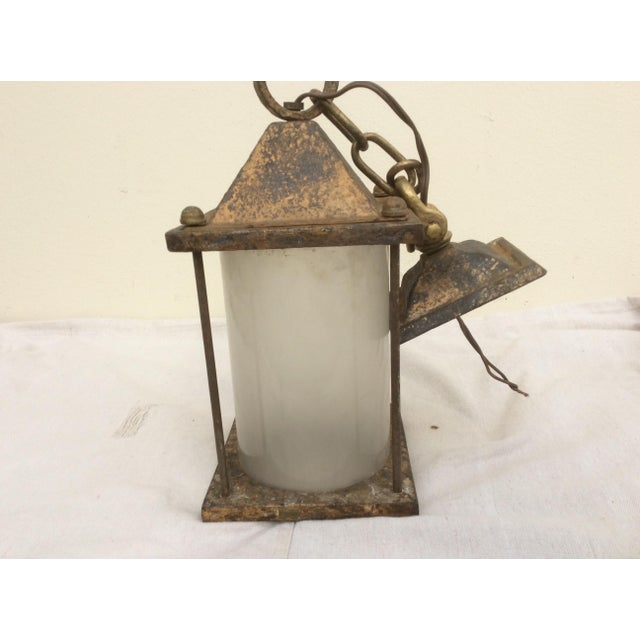 Antique Hammered Texture Iron and Glass Lantern For Sale - Image 4 of 11