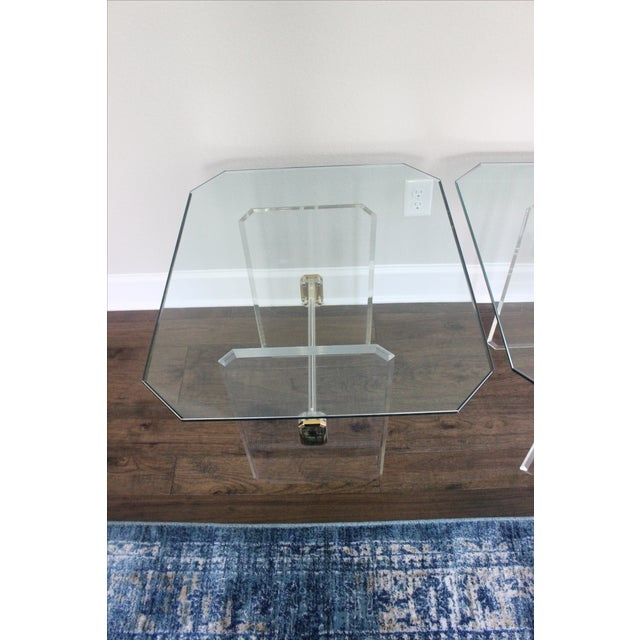 Vintage Lucite Brass and Glass End Tables - Pair - Image 10 of 11