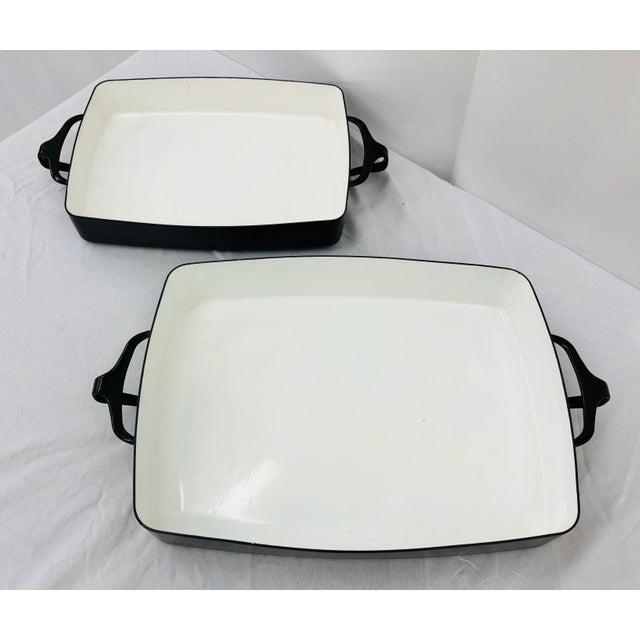Vintage Black & White Enamel Casserole Dishes by Dansk - Set of 2 For Sale - Image 11 of 11