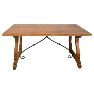 19th Century Spanish Farm Trestle Lyre Leg Table With Forged Iron For Sale