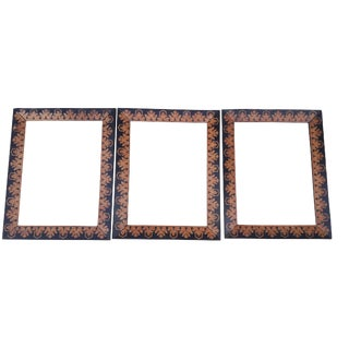 Antique French Marquetry Mirror Picture Frame/Mirror Set of 3 Napoleon Ebonized Picture Frames 1800's For Sale