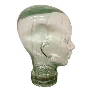 Mid Century Coke Bottle Green Glass Mannequin Head