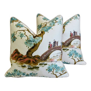 "Chinoiserie Asian Silk & Velvet Floral Feather/Down Pillows 22"" Square - Pair For Sale"