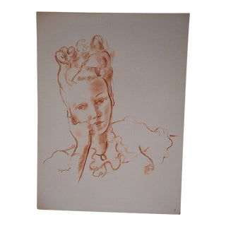 Vintage Dignimont Mid 20th C. Lithograph-Pretty Woman For Sale