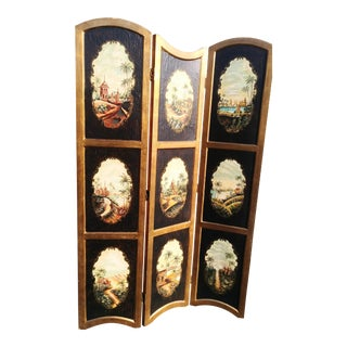 Massive Vintage Chinoiserie Black and Gold Pagoda Garden Scene Arched Top Folding Screen Room Divider For Sale