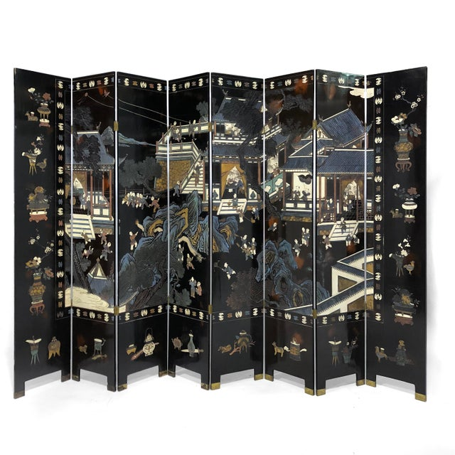 Chinese Eight Panel Coromandel Folding Lacquered Screen For Sale - Image 12 of 13