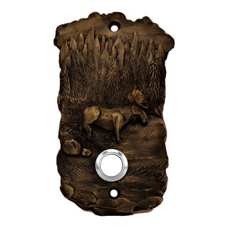 Scenic Moose Doorbell with Traditional Patina For Sale