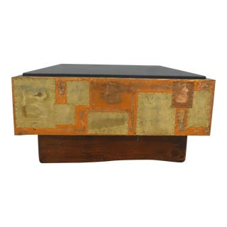 Large 70's Brutalist Mid Century Paul Evans Style Sofa Table For Sale