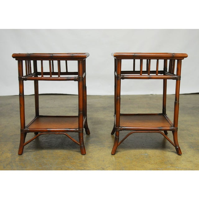 Boho Chic Bamboo Rattan Two-Tier Bedside Tables - A Pair For Sale - Image 3 of 7