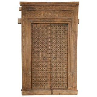 19th Century Metal Studded and Precisely Carved Ageless Fortress Entry Door For Sale