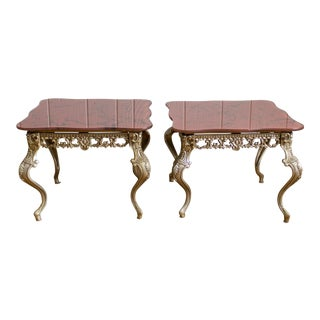 Hollywood Regency Side Tables | Red Marbled Glass Cabriole Legs For Sale