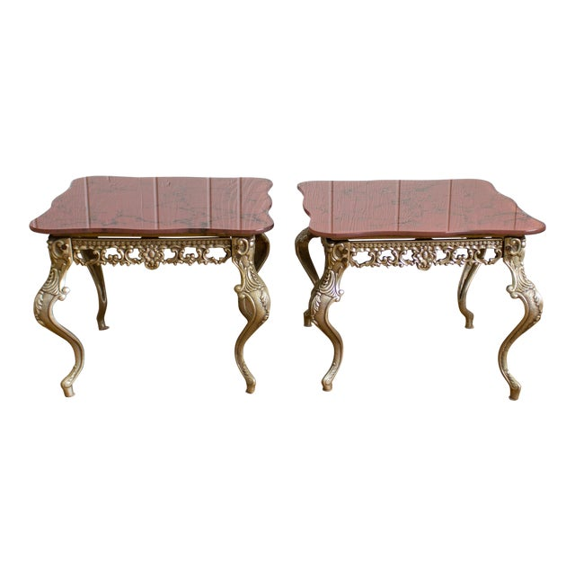 Hollywood Regency Side Tables   Red Marbled Glass Cabriole Legs For Sale