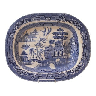 Large 19th Century English Blue Willow Ironstone Meat Platter with Drain For Sale