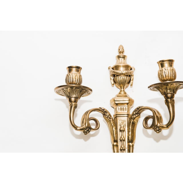 Vintage Brass Candle Sconces - a Pair For Sale - Image 5 of 7