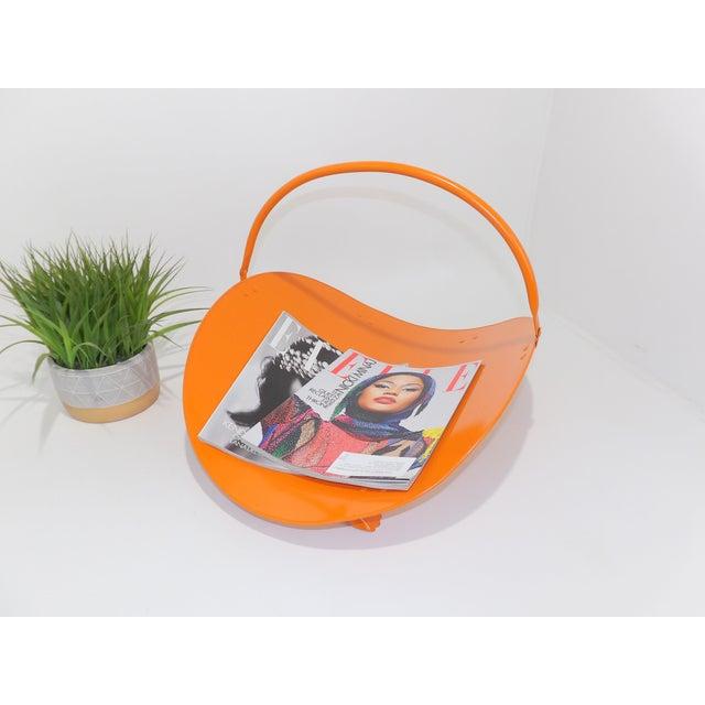 Orange Orange Metal Fireplace Fire Wood Holder For Sale - Image 8 of 9