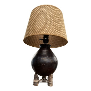 Mid 20th Century Round Bottom Pottery Lamp on Tripod Stand For Sale