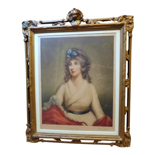 Antique Women Portrait Painting Mezzotint Print Wall Art Hanging Decor Wood Frame For Sale
