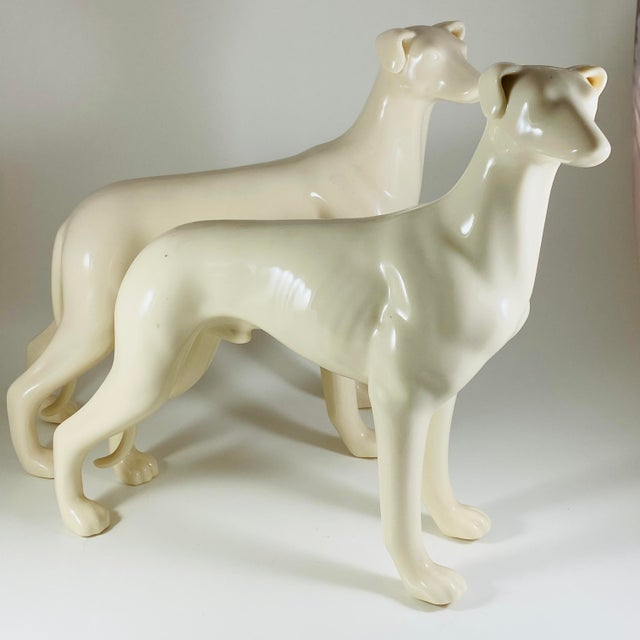 Mid Century Modern White Ceramic Greyhound Dog Statues Figurines - a Pair For Sale - Image 10 of 10
