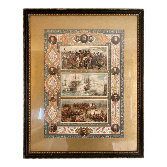 Late 19th Century Print Depicting Various Battles, Generals and Politicians For Sale
