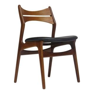 6 Erik Buck Teak Dining Chairs in Black Leather