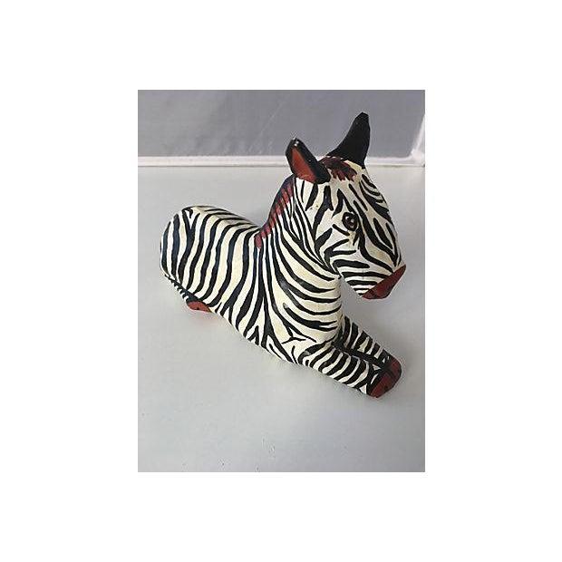 Painted Papier Mache Zebra For Sale - Image 4 of 4