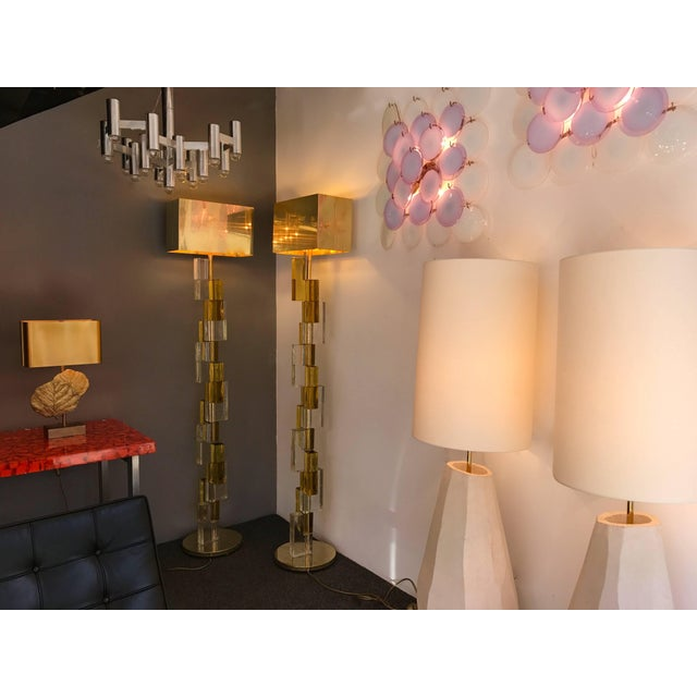 Metal Contemporary Floor Lamps Cubic Murano Glass. Italy For Sale - Image 7 of 13