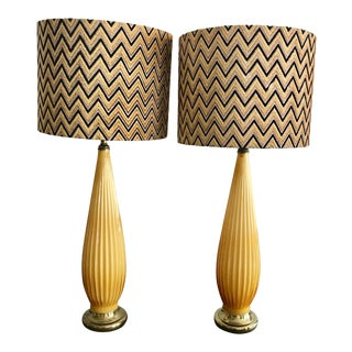 1960s Italian Yellow Murano Glass Lamps with Silk Velvet Shades - a Pair For Sale