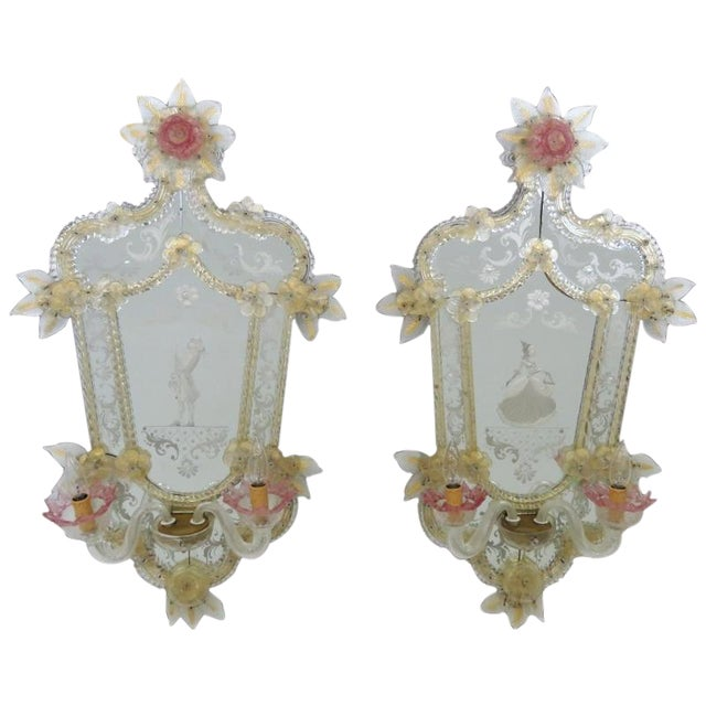 Antique Venetian Glass Mirrored Sconces - A Pair - Image 1 of 7