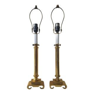 Vintage Solid Brass Neoclassical Column Pillar Greek Scrolled Pedestal Lamps - a Pair