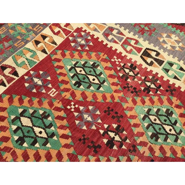 Vintage Turkish Kilim Rug For Sale - Image 9 of 12