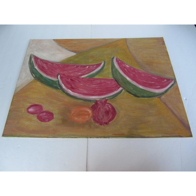 1950s Mid-Century Still Life Painting of Watermelon and Pomegranate For Sale - Image 5 of 8