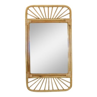Restored Mid-Century Rattan Wall Mirror With Wicker Wrappings For Sale
