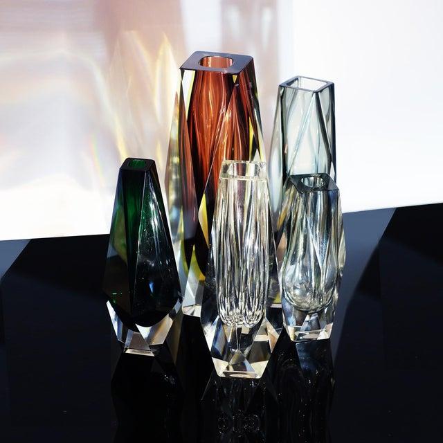 1960s Vintage Luigi Mandruzzato Pentagonal Amethyst Diamond Cut Block Vase For Sale - Image 11 of 12