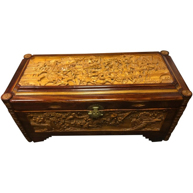 Ornate Hand-Carved Asian Chest For Sale