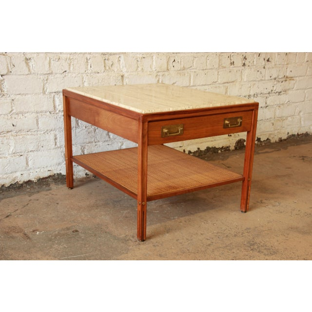 Campaign Gerry Zanck for Gregori Mid-Century Walnut & Travertine Side Table For Sale - Image 3 of 11