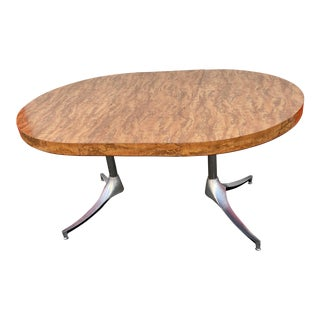 1970s Mid-Century Modern Faux Burl Wood Kitchen Table For Sale