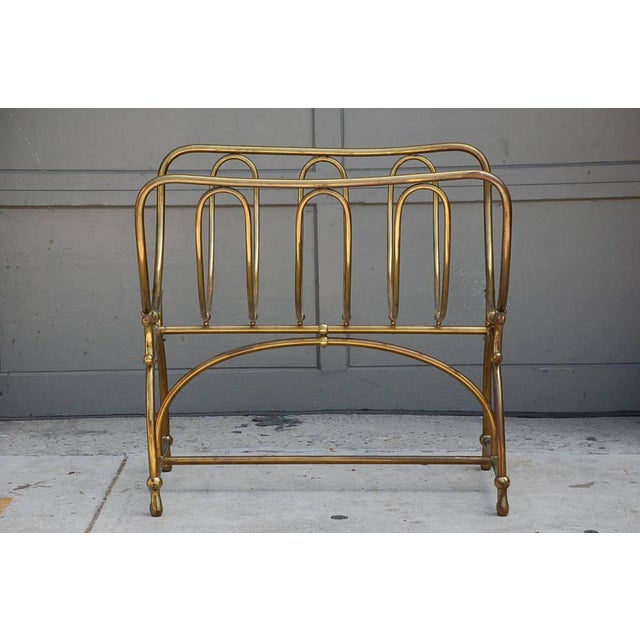 Mid Century Siegel Paris Solid Brass Fireplace Wood Rack For Sale In Los Angeles - Image 6 of 6