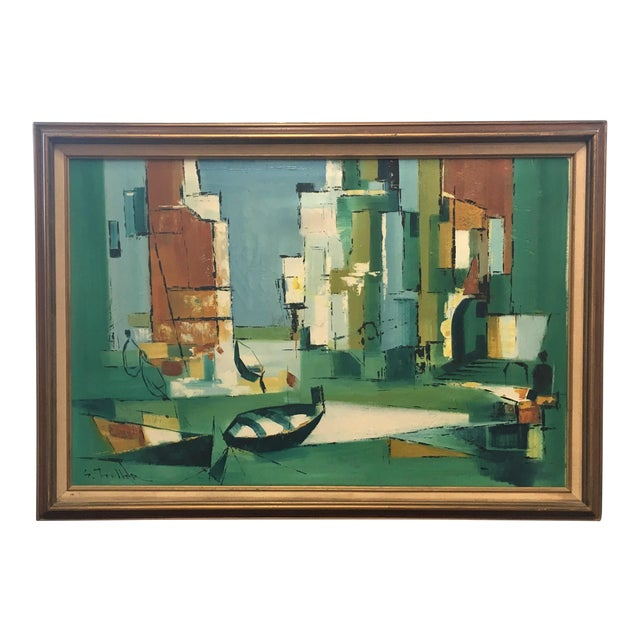 Mid Century Modern Abstract Fishing Scene Painting - Image 1 of 4