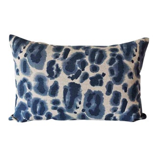 Danish Linen Indigo Bolster Down Feather Pillow For Sale