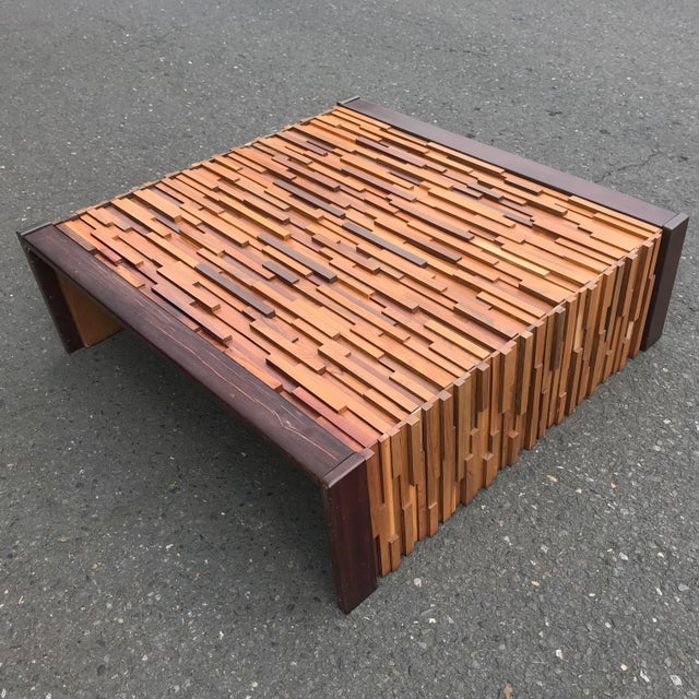 Brown Brazilian Rosewood Perceval Lafer Brutalist Coffee Table For Sale - Image 8 of 8
